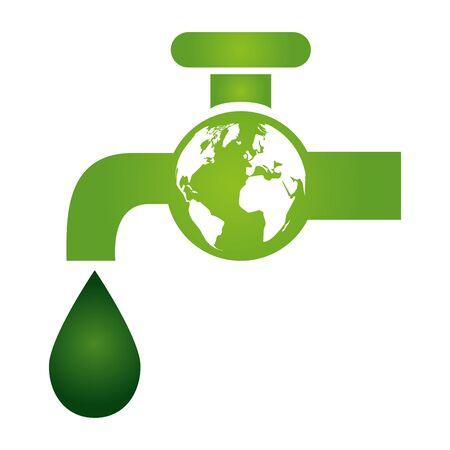 green faucet drop water world eco friendly environment vector illustration