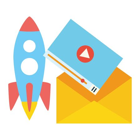 launching rocket envelope video screen vector illustration Ilustração