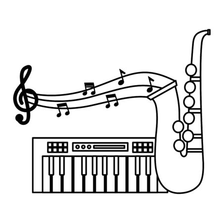 synthesizer and saxophone festival music vector illustration Stock Vector - 129577807
