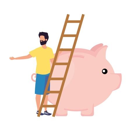 young man with piggy savings and stair vector illustration design