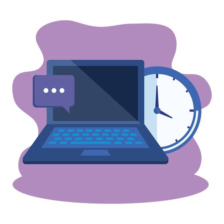 laptop computer with time clock vector illustration design 일러스트