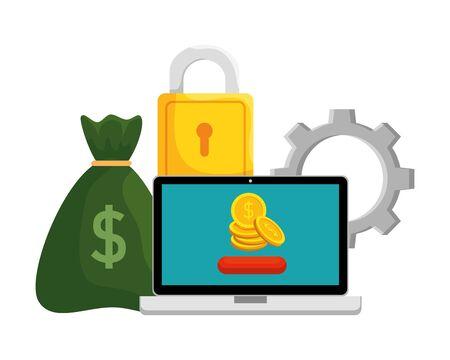 laptop met munten en e-commerce iconen vector illustratie ontwerp