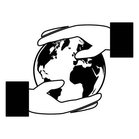 hands holding world eco friendly environment vector illustration Illustration