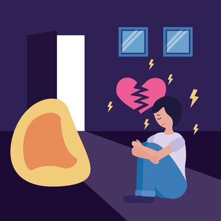 sad boy in home depressed mental disorder vector illustration