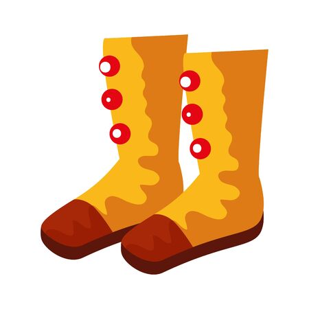 circus artist boots accessory icon vector illustration design