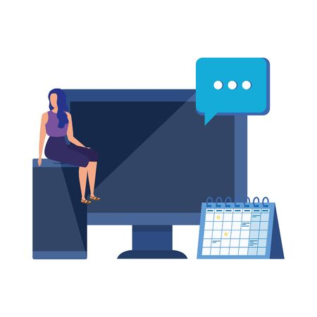 young woman with desktop character vector illustration design