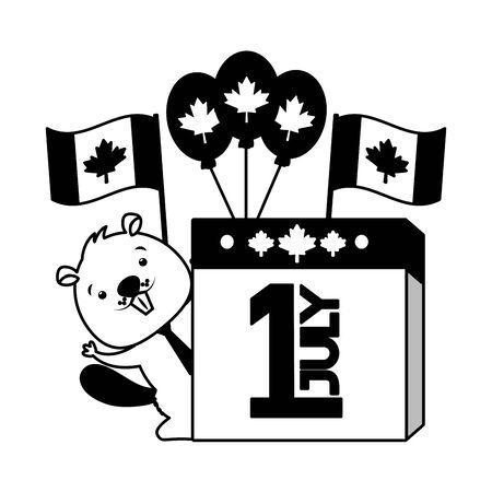 beaver calendar balloons flags happy canada day vector illustration