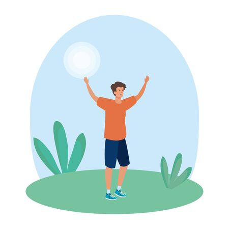 happy young man celebrating in the landscape vector illustration design Stock fotó - 129565463