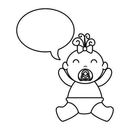 cute little baby girl with speech bubble vector illustration design Stock fotó - 129578049