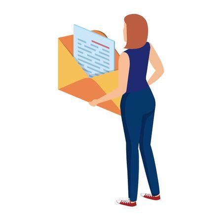 young woman lifting envelope mail send vector illustration design Çizim