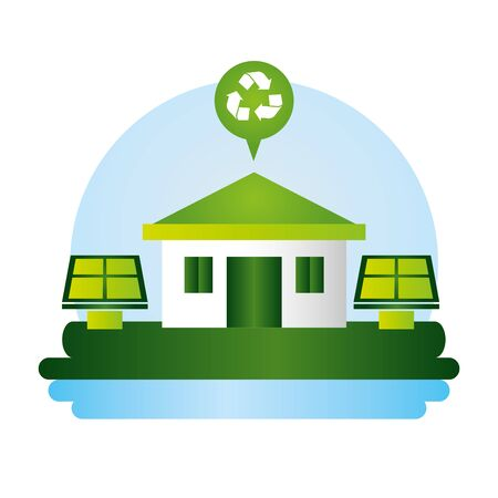 solar panels house energy eco friendly vector illustration Stock Illustratie