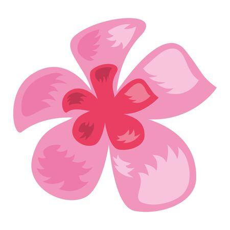tropical exotic flower decoration icon on white background vector illustration Çizim