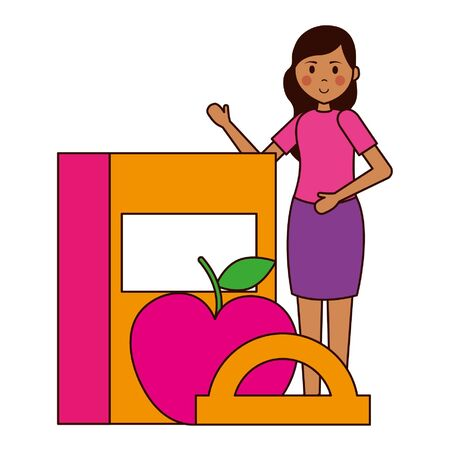 woman book apple protractor teacher day vector illustration