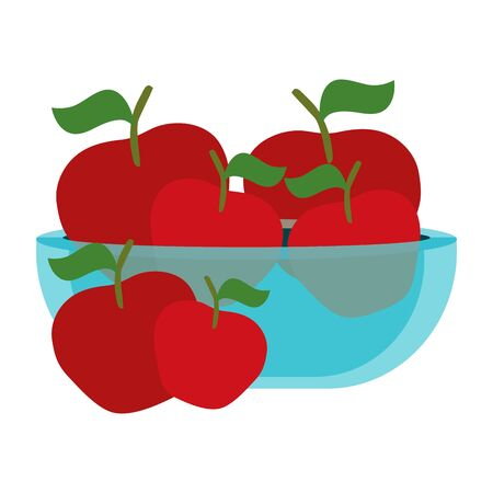 fresh apples fruits in glass bowl vector illustration design