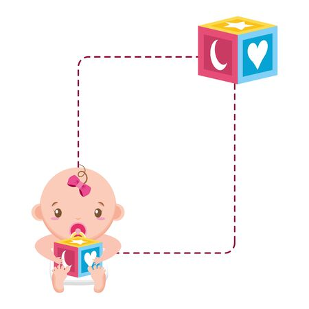 cute girl in diaper with cube baby shower vector illustration Çizim
