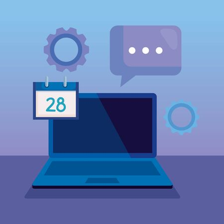 laptop technology with calendar and chat bubble over purple background, vector illustration