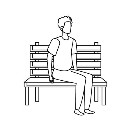 young and casual man seated in park chair character vector illustration design Stock fotó - 129578277