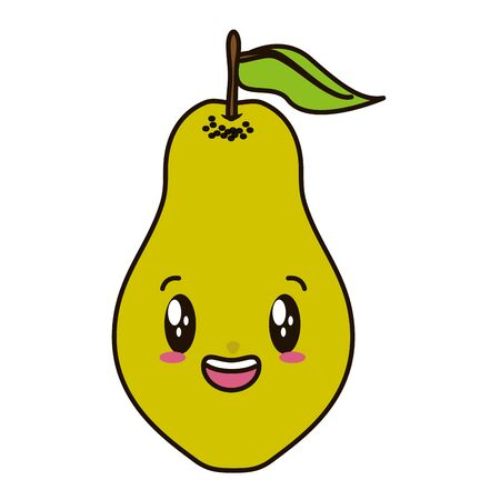 tropical fruits pear cartoon vector illustration Çizim