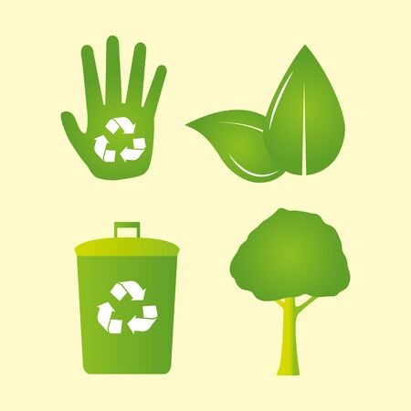 eco friendly recycable hand leaves tree vector illustration