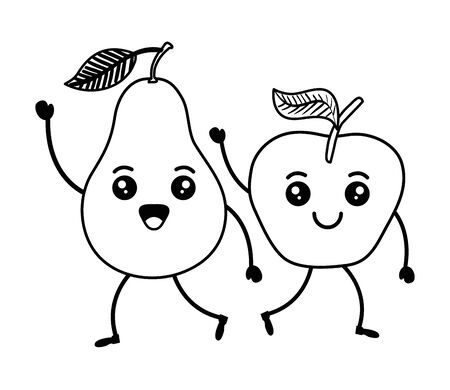 fresh pear and apple fruits characters vector illustration design