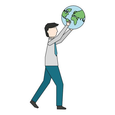 businessman with planet earth avatar character vector illustration design