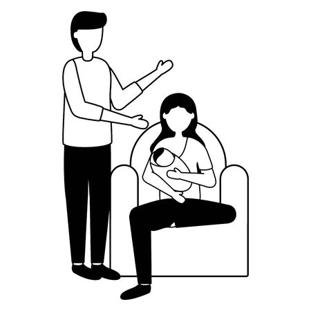 dad and mom feeding newborn pregnancy and maternity vector illustration