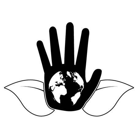 hand world leaves symbol eco friendly environment vector illustration Banque d'images - 129578471