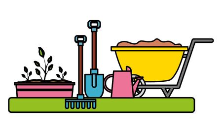 wheelbarrow watering can rake shovel plant gardening flat design vector illustration