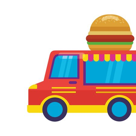 food truck park burger on roof vector illustration