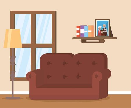 lamp couch stand living room vector illustration