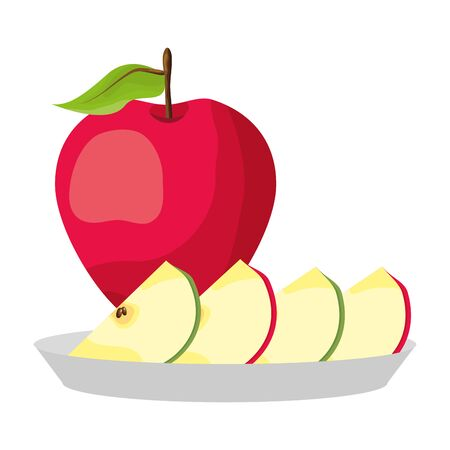red apples slice tropical fruits in dish vector illustration