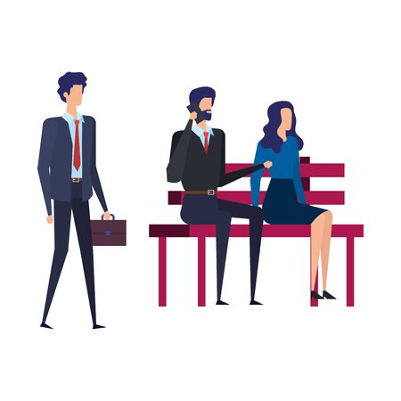 business people calling with cellphone in the park chair vector illustration design Illustration