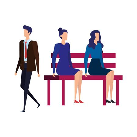 business people seated in the park chair vector illustration design