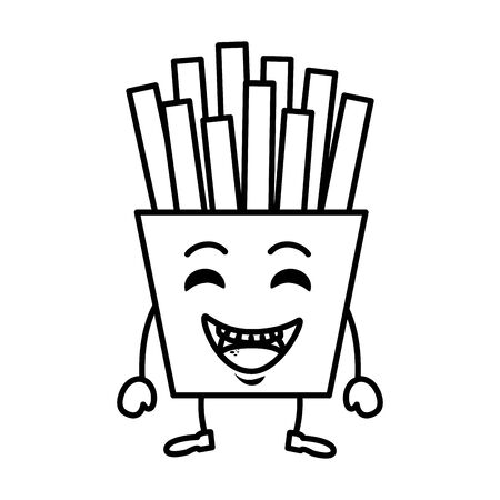 french fries character vector illustration design
