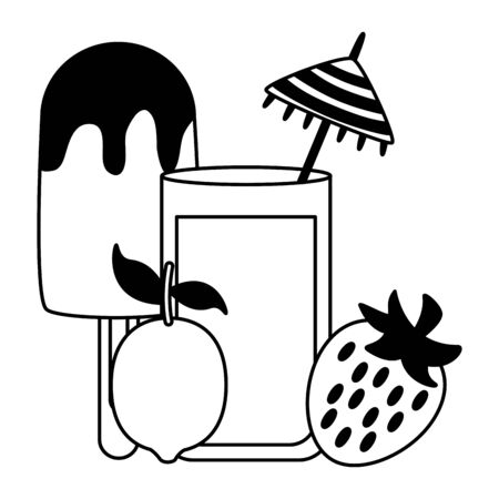 summer time holiday cocktail strawberry lemon ice cream vector illustration