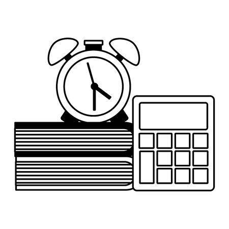 clock calculator and books back to school vector illustration