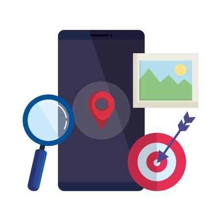 Smartphone mit Lupe und Pin Location Vector Illustration Design