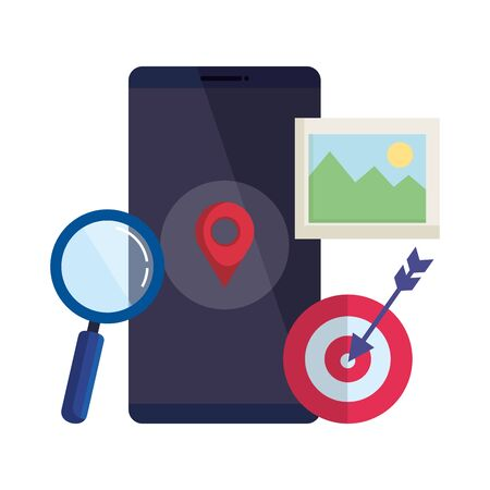 smartphone with magnifying glass and pin location vector illustration design Vettoriali