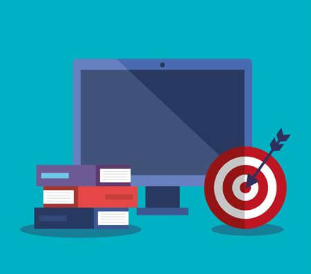 computer technology with books and target with arrow to business strategy vector illustration