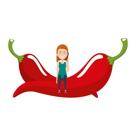 young woman with chilli pepper vector illustration design