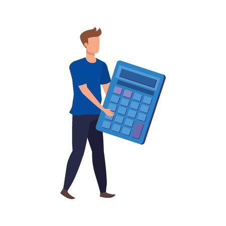 young man with calculator math character vector illustration design