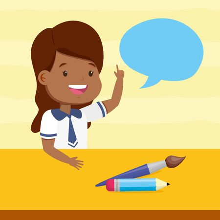 girl talking brush and pencil back to school vector illustration