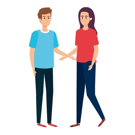 young couple lovers avatars characters vector illustration design Stock fotó - 129573029