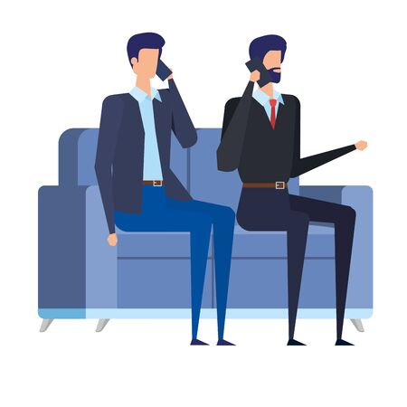 elegant businessmen workers in livingroom vector illustration design