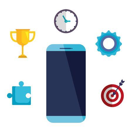 Tecnología de teléfonos inteligentes con iconos de negocios, diseño de ilustraciones vectoriales