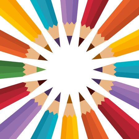 set of colors pencils school vector illustration design