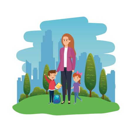 students kids with female teacher in the landscape vector illustration design Banco de Imagens - 129734549