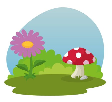 flower plant with leaves and fungus with bushes to fantasy story, vector illustration