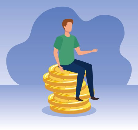 businessman with coins cash money currency over purple background, vector illustration