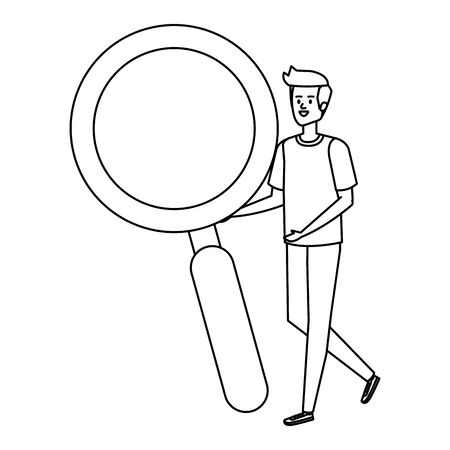 man lifting search magnifying glass vector illustration design